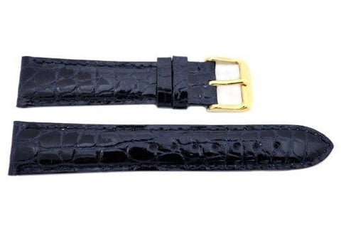 Hadley Roma Cartier Style Genuine Round Grain Alligator Navy Blue Ladies Watch Strap
