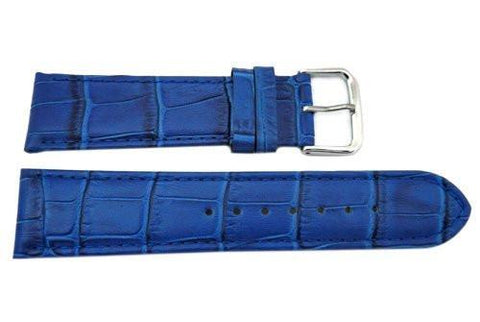 Genuine Textured Leather Square Blue Crocodile Grain Watch Strap