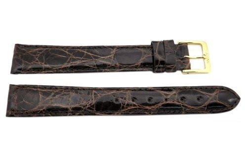 Genuine Crocodile Brown Glossy Leather 16mm Long Watch Strap