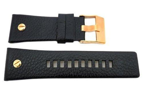 Genuine Diesel Mr. Daddy Series Black Textured Leather 28mm Watch Band