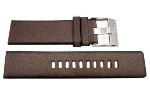 Genuine Diesel Arges Series Brown Textured Leather 24mm Watch Band