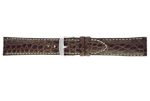 Hadley Roma Brown Genuine Alligator Round Grain Leather Band
