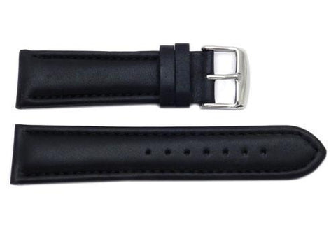 Waterproof Smooth Leather Tapered Stitched Watch Strap