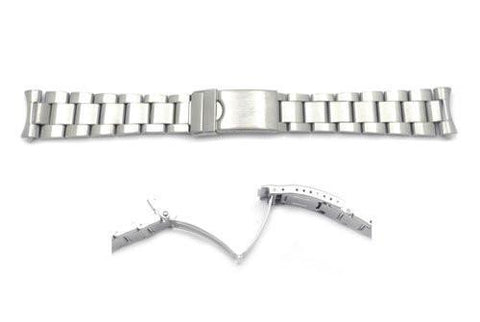 Hadley Roma 20mm Silver Tone Rolex Oyster Style Solid Link Watch Bracelet