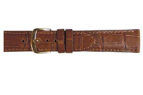 Hadley Roma Chestnut Rolex Style Genuine Alligator Square Grain Watch Strap