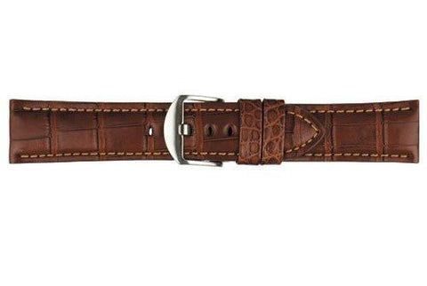 Hadley Roma Genuine Matte Alligator Panerai Style Chestnut Watch Strap