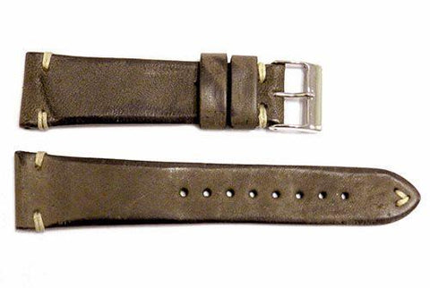 Vintage Handmade Stitched Aged Brown Leather Watch Band