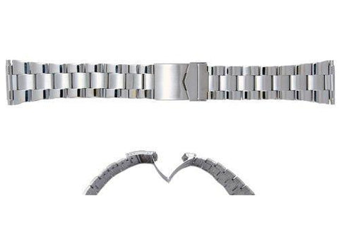 Hadley Roma Mens Wide Link Stainless Steel Watch Bracelet