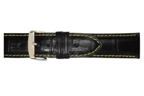 Hadley Roma Black Genuine Alligator With Yellow Contrast Stitching Band