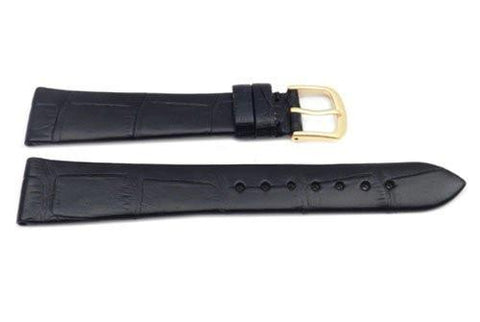 Hadley Roma Mens' Square Grain Genuine Alligator Black Flat Watch Strap