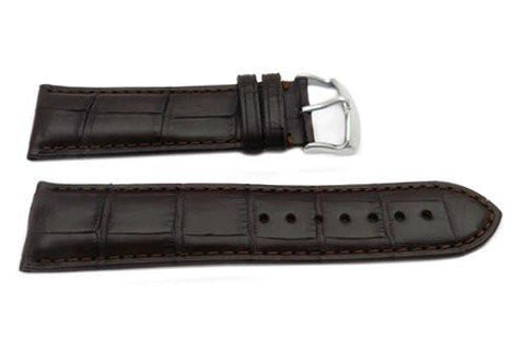 Hadley Roma Brown Genuine Square Grain Alligator Heavy Padded Watch Strap