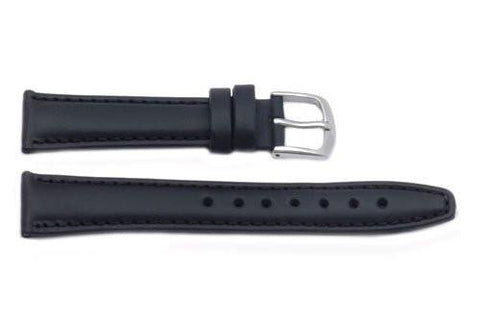 Hadley Roma Light Padded Black Oil-Tan Leather Watch Strap