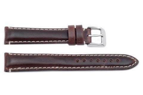 Hadley Roma White Stiching Brown Oil Tan Leather Long Watch Band