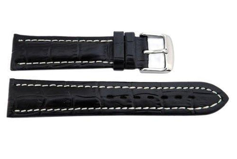 Hadley Roma Black Alligator Grain Breitling Style Watch Band