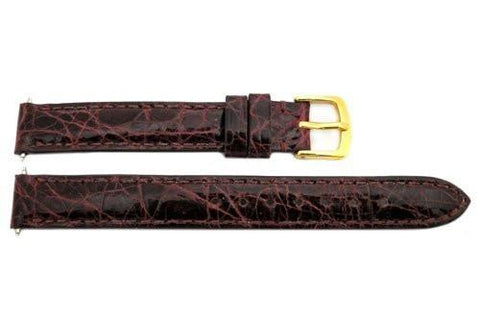 Hadley Roma Cartier Style Genuine Crocodile Burgundy Leather Watch Strap