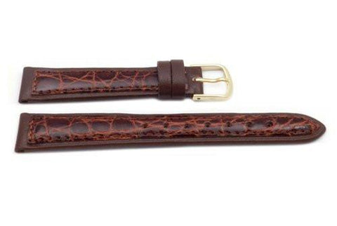 Hadley Roma Chestnut Genuine Crocodile Leather Thin Ladies Watch Strap