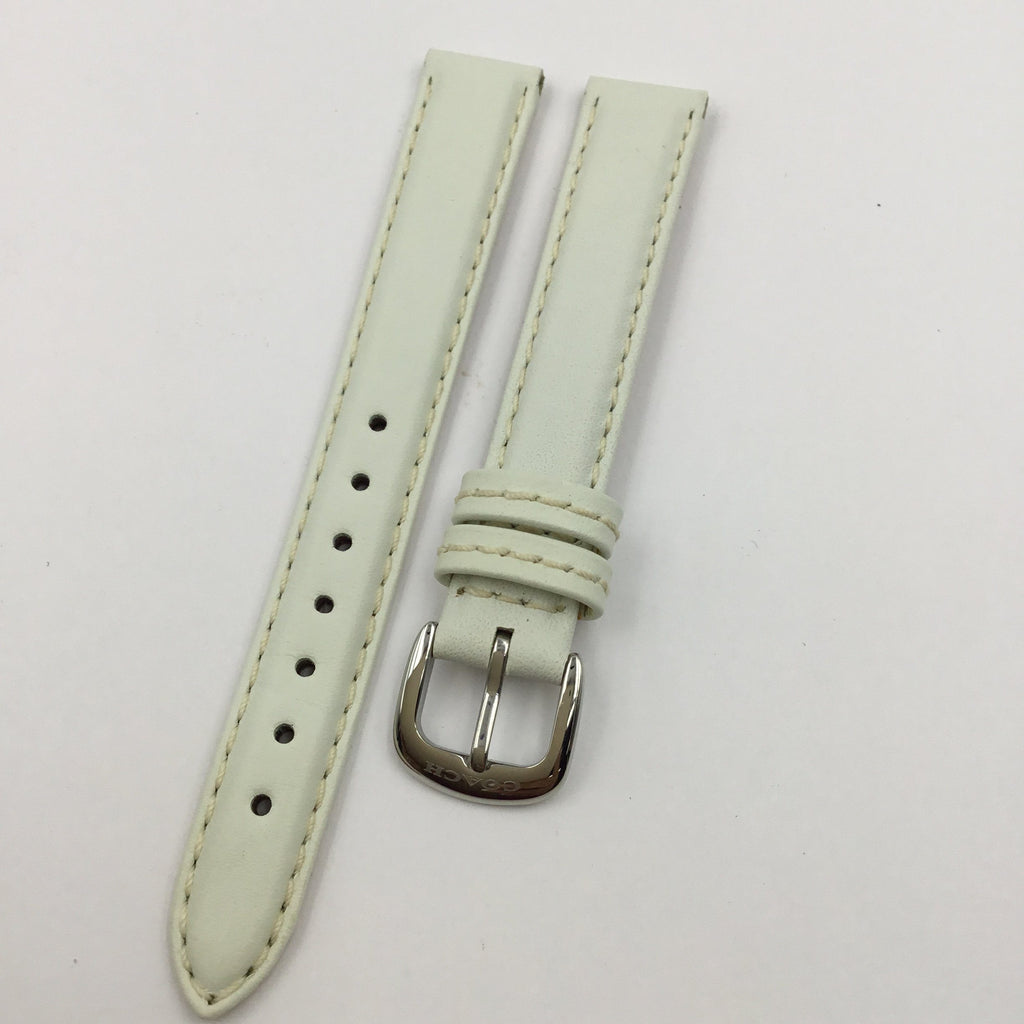 Genuine Coach White Smooth Leather 13mm Watch Band image