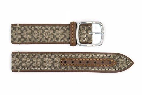 Genuine Coach 17mm Brown Signature Tote Genuine Leather Watch Strap