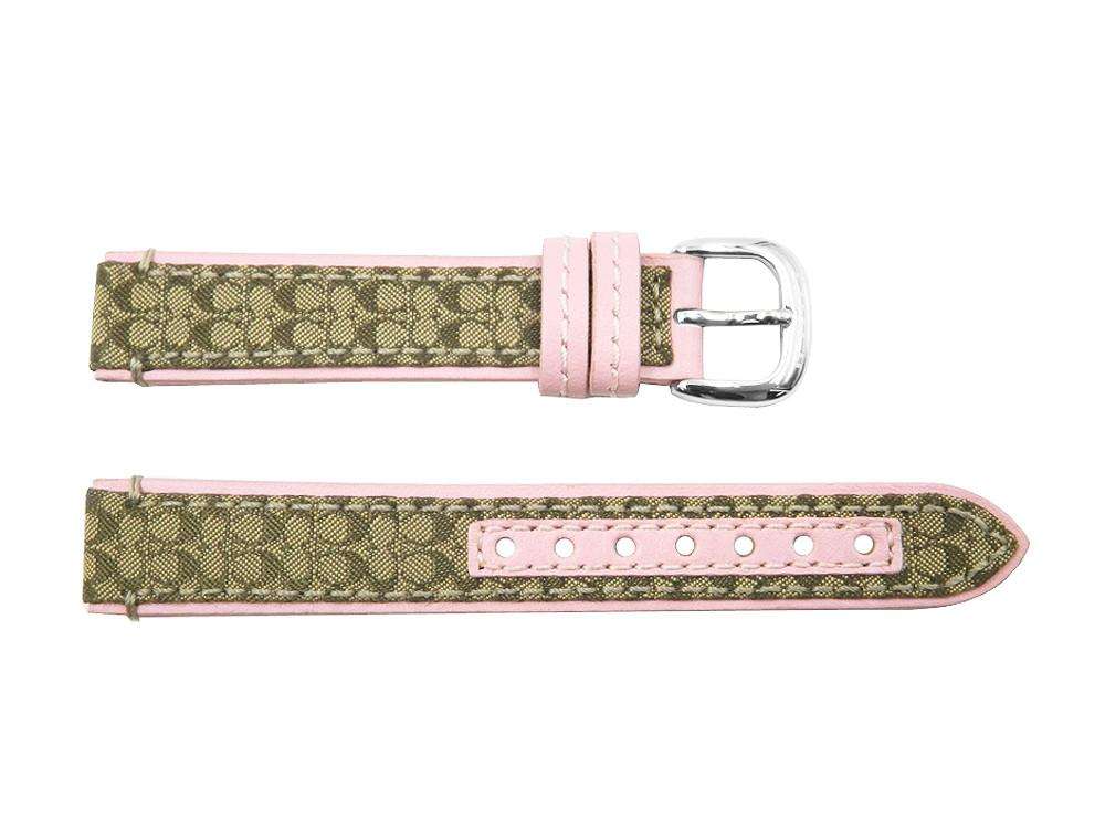 Coach Women's 15mm Brown Monogram w/ Pink Leather Accent Watch Strap