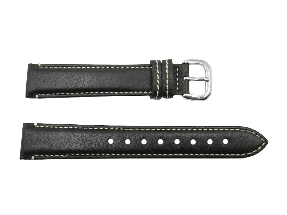 Coach 18mm Black Leather Watch Strap w/ White Stitching