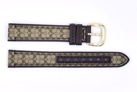 Genuine Coach Dark Brown Leather 15mm Signature Monogram Watch Band