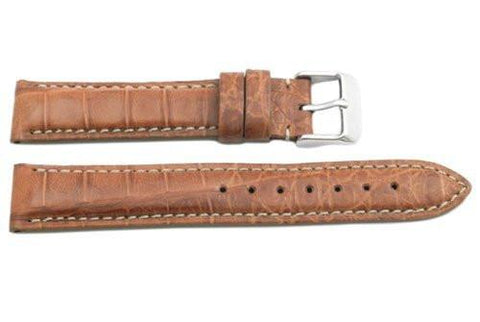 Hadley Roma Tan Genuine Cayman Crocodile Leather Watch Strap