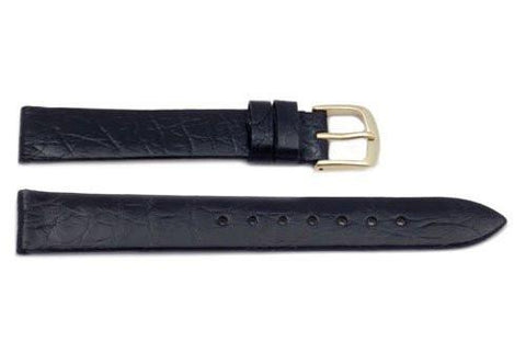 Hadley Roma Genuine Black Crocodile Flat Watch Band