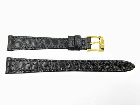 Genuine Movado Alligator Grain Calfskin Leather Black 13mm Watch Band