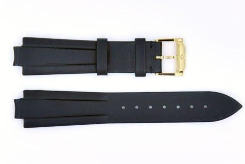 Genuine Movado 19mm Black Genuine Leather Smooth Watch Strap