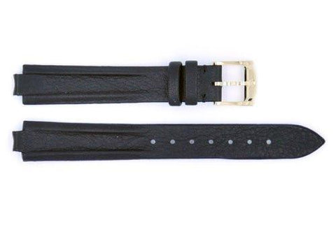 Genuine Movado 13mm Black Genuine Textured Leather Flat Padded Watch Strap