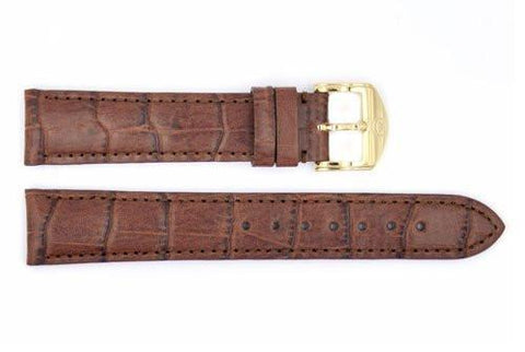 Genuine Movado 18mm Genuine Textured Leather Brown Crocodile Grain Watch Strap