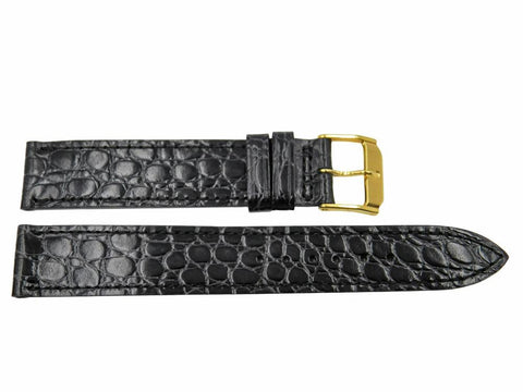 Genuine Movado Alligator Grain Calfskin Leather Black 17mm Watch Band