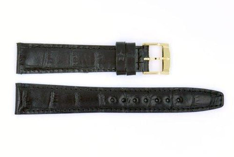Genuine Movado Textured Leather Black Crocodile Grain 17mm Watch Strap