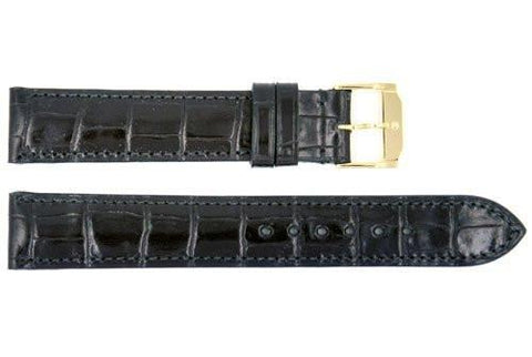Genuine Movado Textured Leather Black Crocodile Grain Calfskin 17mm Watch Strap