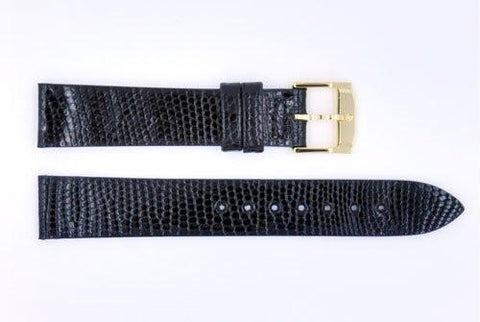 Genuine Movado 15mm Short Black Genuine Lizard Skin Watch Band