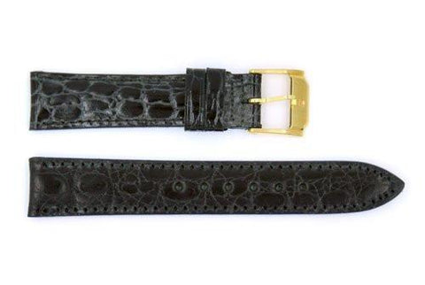 Genuine Movado Calfskin Leather Short Black Crocodile Grain 15mm Watch Strap