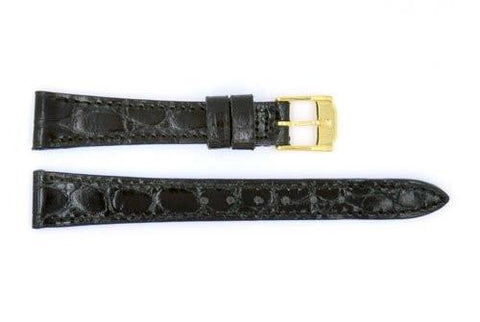 Genuine Movado Calfskin Leather Short 13mm Black Crocodile Grain Watch Strap