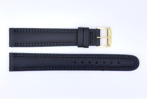 Genuine Movado Black Smooth Leather 18mm Long Length Watch Strap