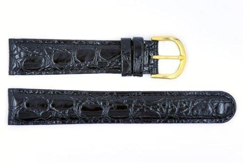 Genuine ESQ Black Alligator Grain Textured Leather 18mm Watch Strap
