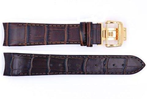 Genuine ESQ Dark Brown Crocodile Grain Textured Leather 21mm Watch Strap