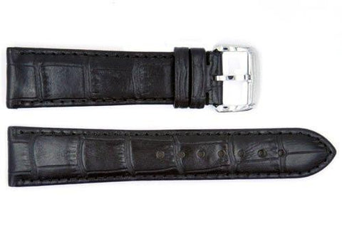 Genuine ESQ Black Crocodile Grain Textured Leather 21mm Watch Strap