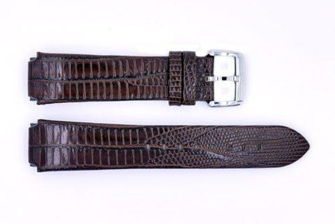 Genuine ESQ Dark Brown Lizard Grain Textured Leather 21mm Watch Strap