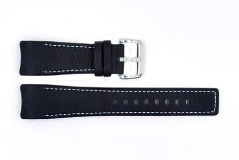 Genuine ESQ Black Textured Leather 22mm Watch Strap