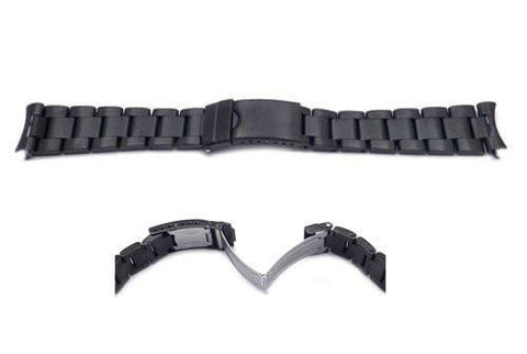 Hadley Roma 20mm Black Tone Rolex Oyster Style Solid Link Watch Bracelet