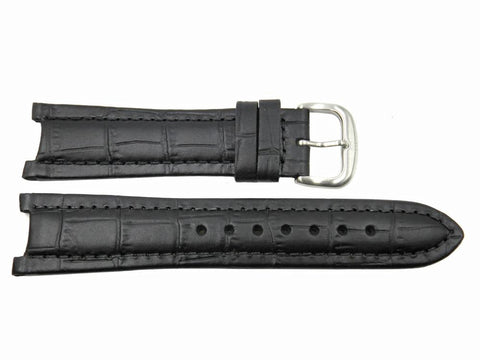 Genuine ESQ Men's Submerible Black Crocodile Grain  22/12mm Watch Strap