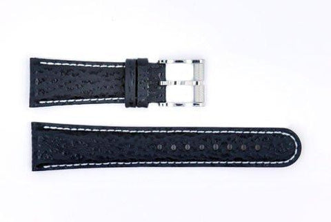 Genuine ESQ Black Shark Skin Leather 23mm Watch Strap