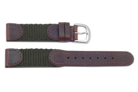Hadley Roma Swiss Army Style Brown Leather and Olive Nylon Watch Strap