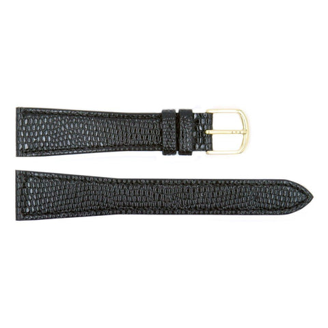 Genuine Citizen Eco-Drive Textured Leather Black Lizard Grain 19mm Watch Strap
