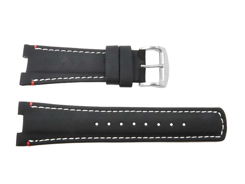Citizen Black Leather 25mm Integrated Fit with Contrast Stitching Watch Strap