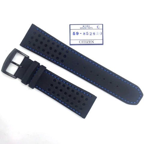 CITIZEN WATCH BAND BLACK W/ BLUE STITCHING 23MM SPECIALTY PART # 59-S52630